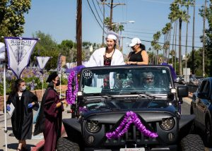 Alexia Issagholian attends her drive-through graduation ceremony at Hoover High School